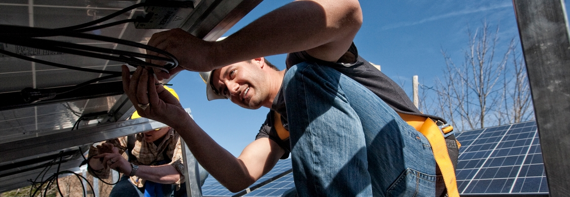solar panel worker