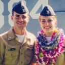 Seniors Dylan Harris and Alexandra Stivers, while stationed in Hawaii with the U.S. Navy. Stivers had just been promoted in a ceremony at Pearl Harbor. The couple moved to Boone from Jacksonville, Florida, to attend Appalachian State University. Photo submitted