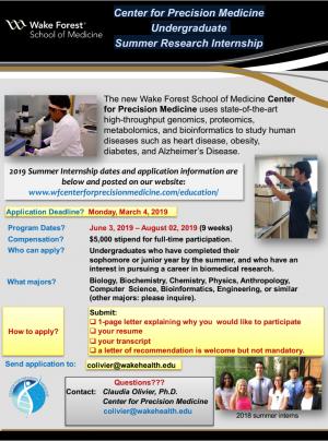 Center for Precision Medicine Undergraduate Summer Research